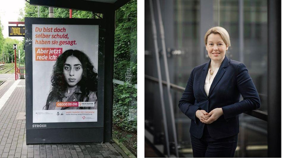 """Plakat fürs Hilfetelefon, Ministerin Giffey:""""Ein Rettungsanker"""""""