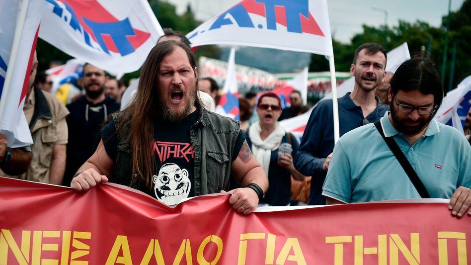 Streikende Medienarbeiter in Athen