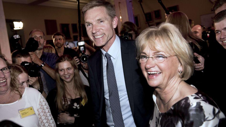 Rechtspopulistenchef Thulesen Dahl am Wahlabend