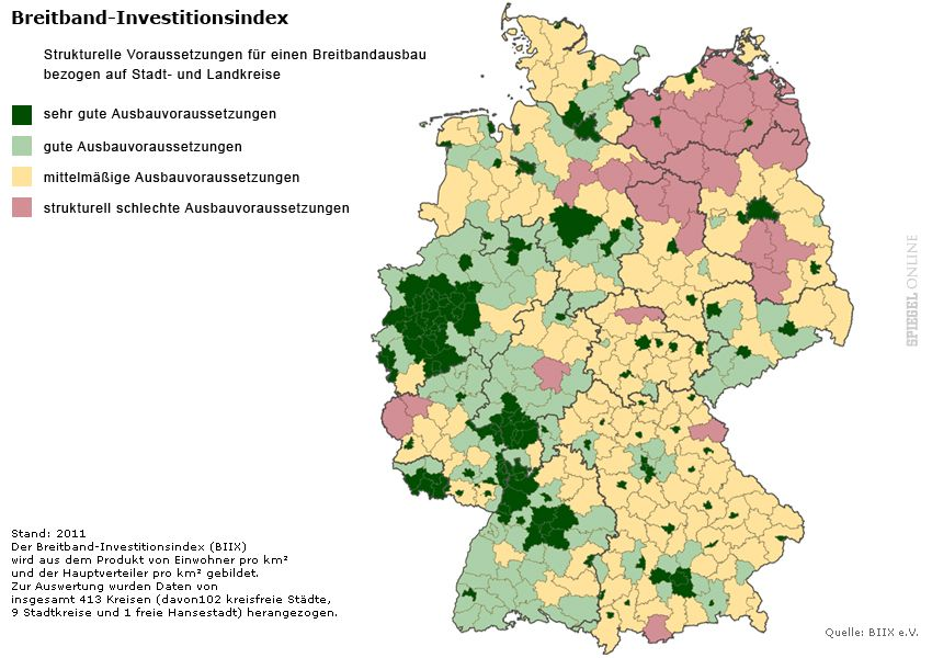 EINMALIGE VERWENDUNG Grafik Deutschlandkarte Breitbandindex