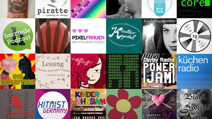 Podcast-Logos: In drei Tagen entstand per Crowdsourcing eine Liste mit 214 Podcasterinnen und Podcastern