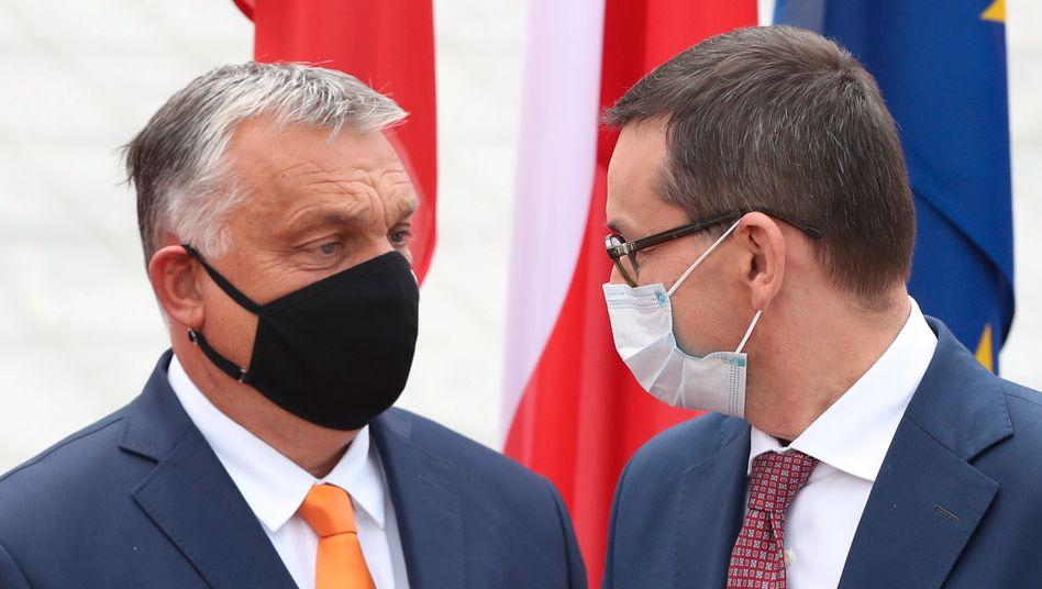 Ungarns Premier Viktor Orbán und Polens Premier Mateusz Morawiecki