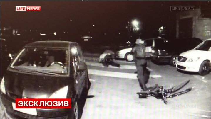 A screen capture from the surveillance camera footage of the murder of Russian businessman Albert Nazranov in Moscow.