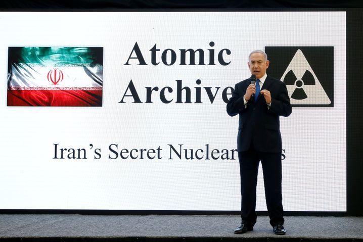 Israeli Prime Minister Benjamin Netanyahu giving a presentation on the Iranian nuclear program on Monday.