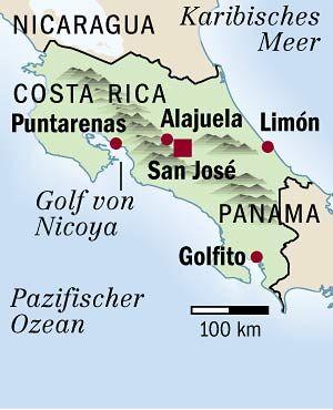 Karte von Costa Rica: Viel Geld in Bildung investiert