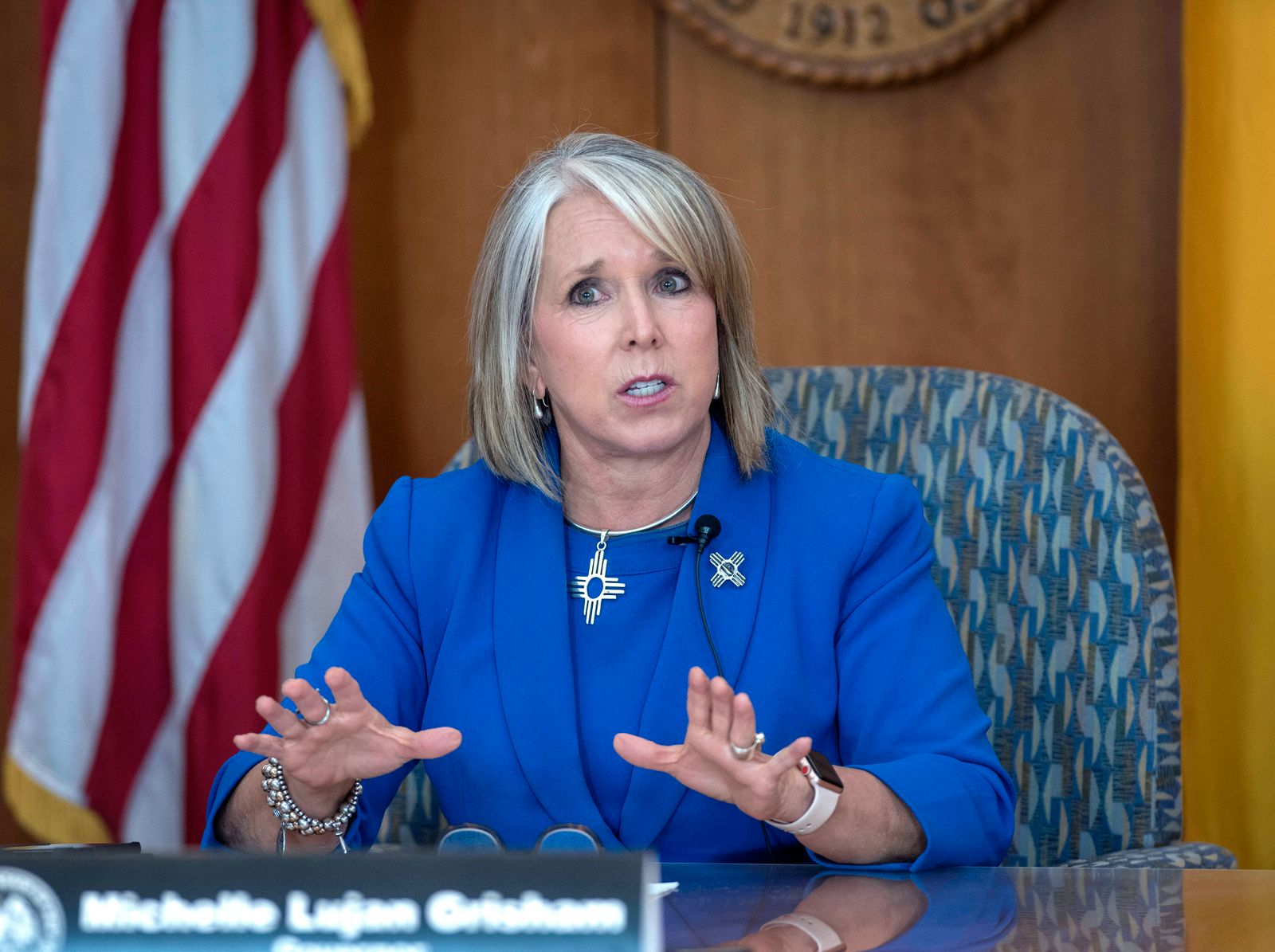 July 9, 2020, USA: Governor Michelle Lujan Grisham announces some return to closures during her weekly update on the COV