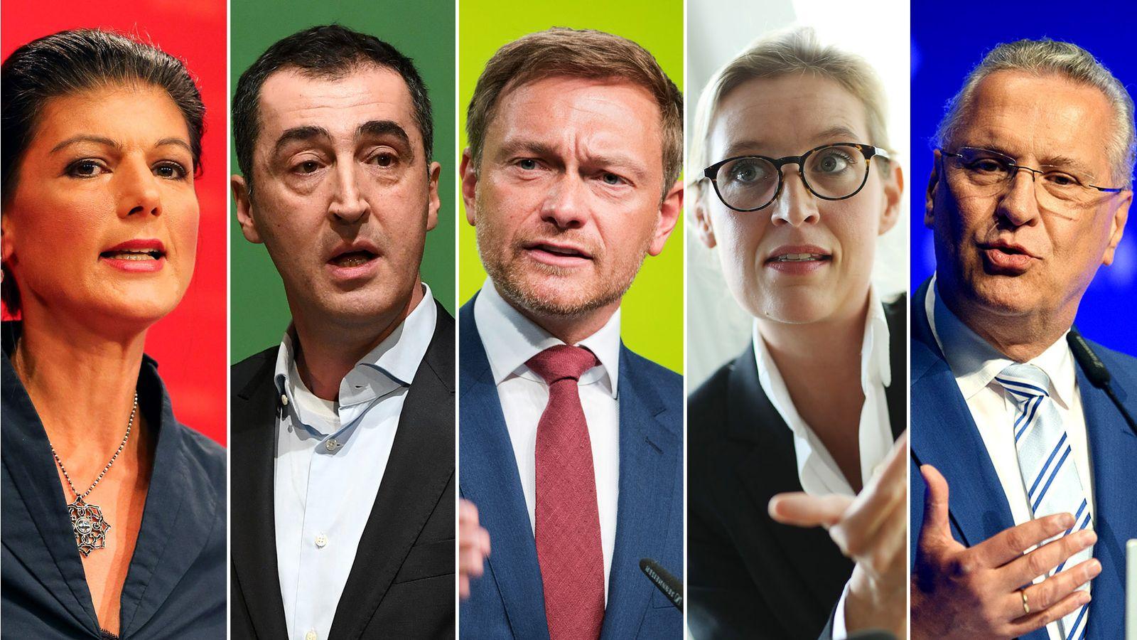 EINMALIGE VERWENDUNG KOMBO/ TV Duell/ Wagenknecht, Özdemir, Lindner, Weidel, Herrmann