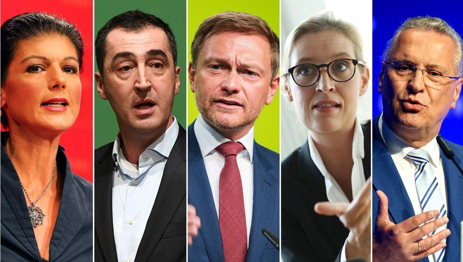 Spitzenkandidaten Wagenknecht, Özdemir, Lindner, Weidel, Herrmann