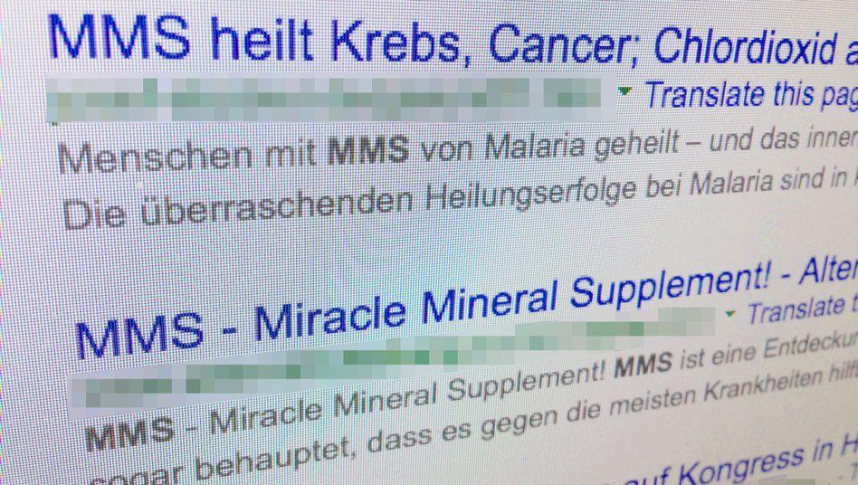 """Screenshot einer Google-Suche: """"MMS heilt Krebs"""""""