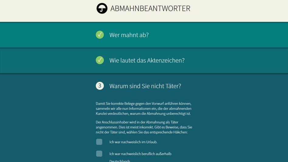 Website Abmahnbeantworter.ccc.de