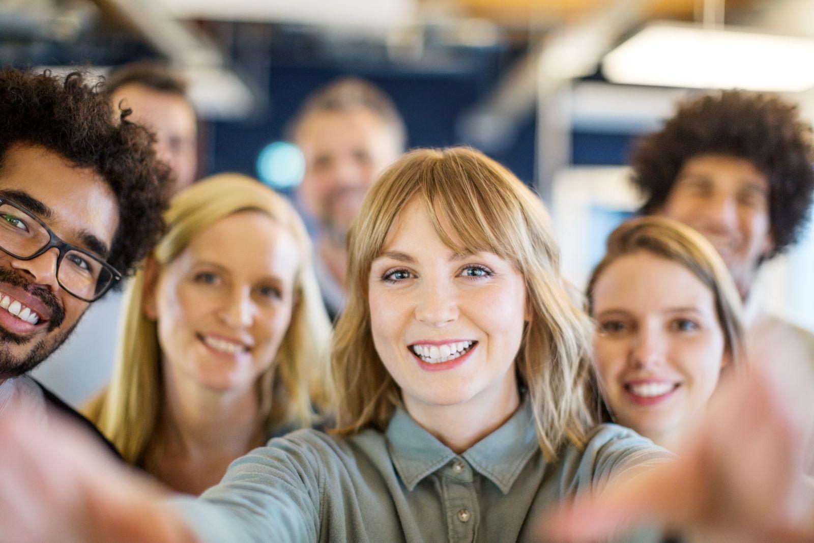 Multi-ethnic business team taking a selfie