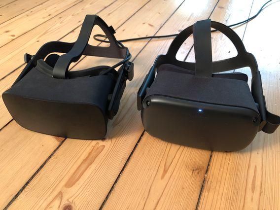 """Oculus Rift (links) neben der Oculus Quest: Jene Mobil-Brille kann nur dann für """"Alyx"""" verwendet werden, wenn sie mit einem PC verkabelt wird. Das teuerste und technisch beste Headset für Alyx ist derweil Valves System namens Index"""