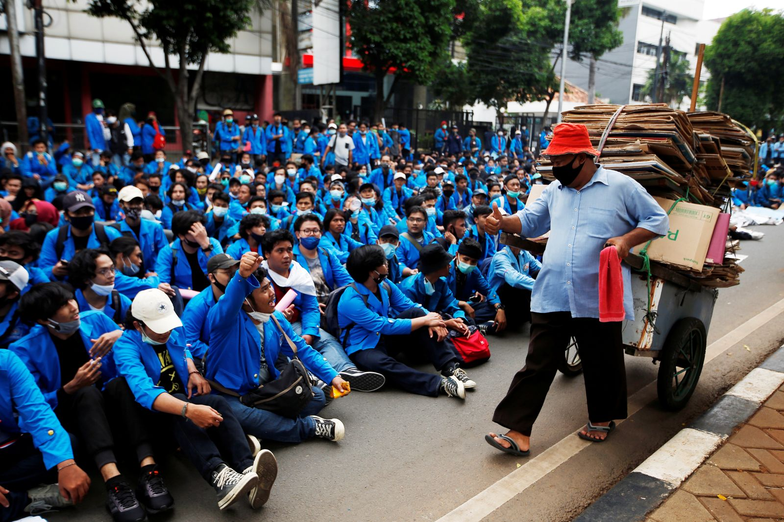 Protest against the government's proposed labour reforms in Jakarta