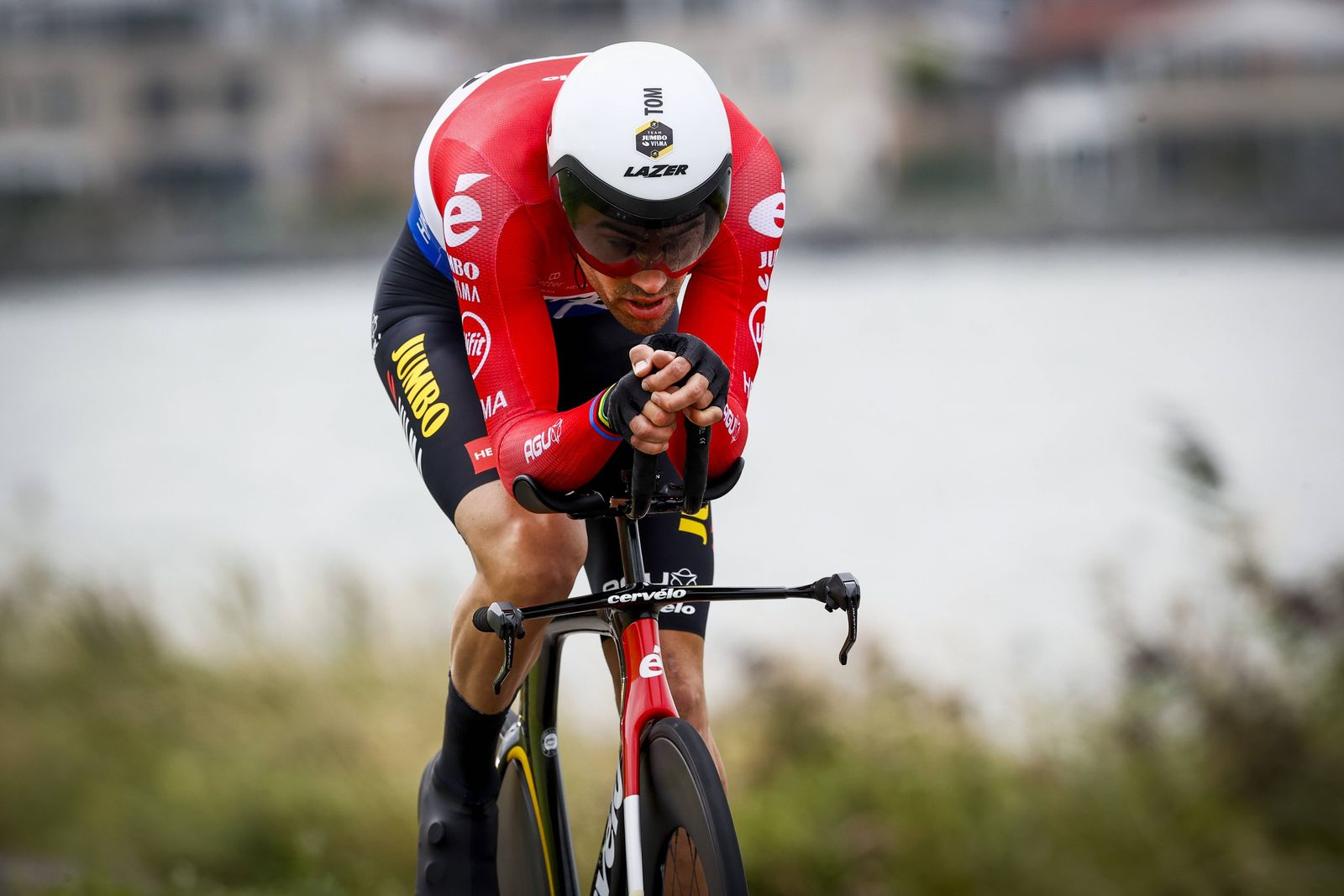 LELYSTAD - Tom Dumoulin in action during the second stage of the Benelux Tour, a 11.1 km time trial in Lelystad. ANP VIN