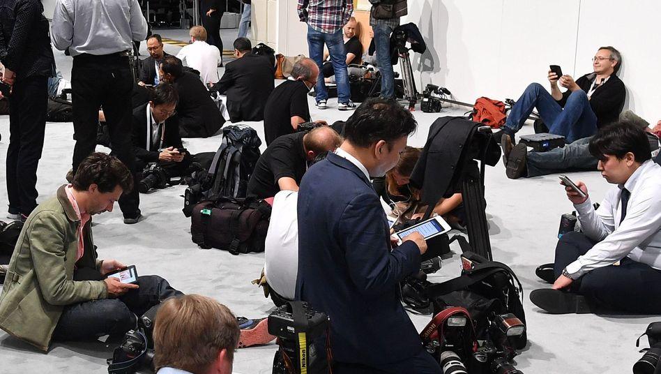 Journalisten im Messezentrum Hamburg während des G20-Gipfels