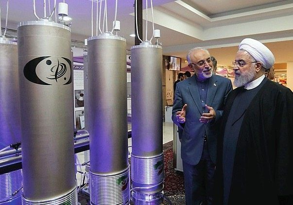 President Hassan Rohani inspecting centrifuges used to enrich uranium: A bellicose rhetoric from Tehran