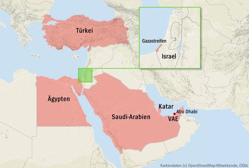 Karte Nahostt (Version 2 - ohne Libyen)