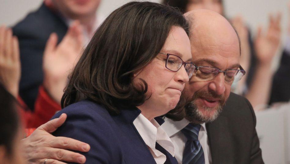 SPD-Fraktionschefin Nahles, SPD-Parteivorsitzender Schulz