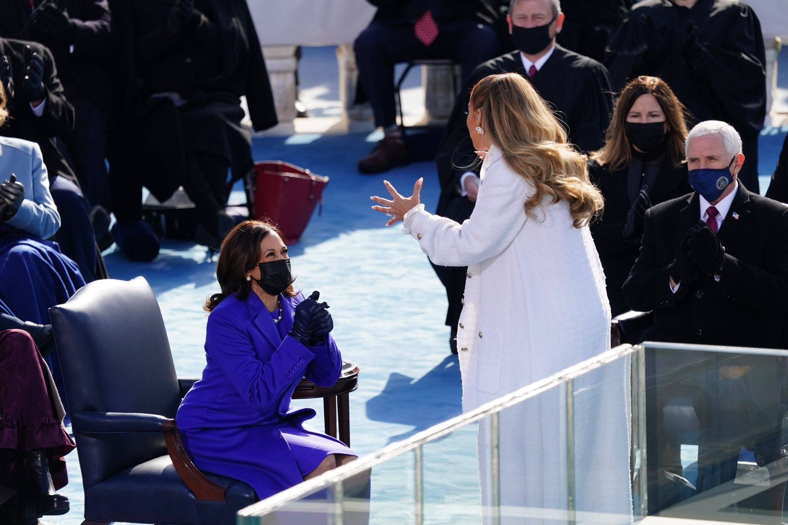 January 20, 2021, Washington, District of Columbia, USA: Vice President Kamala Harris reacts after singer Jennifer Lope