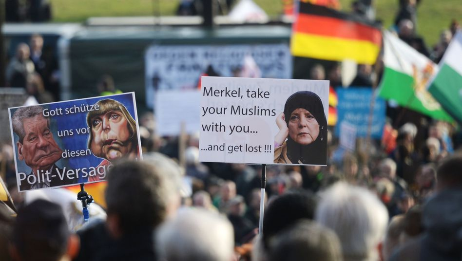 Pegida-Kundgebung in Dresden (im Februar 2016)