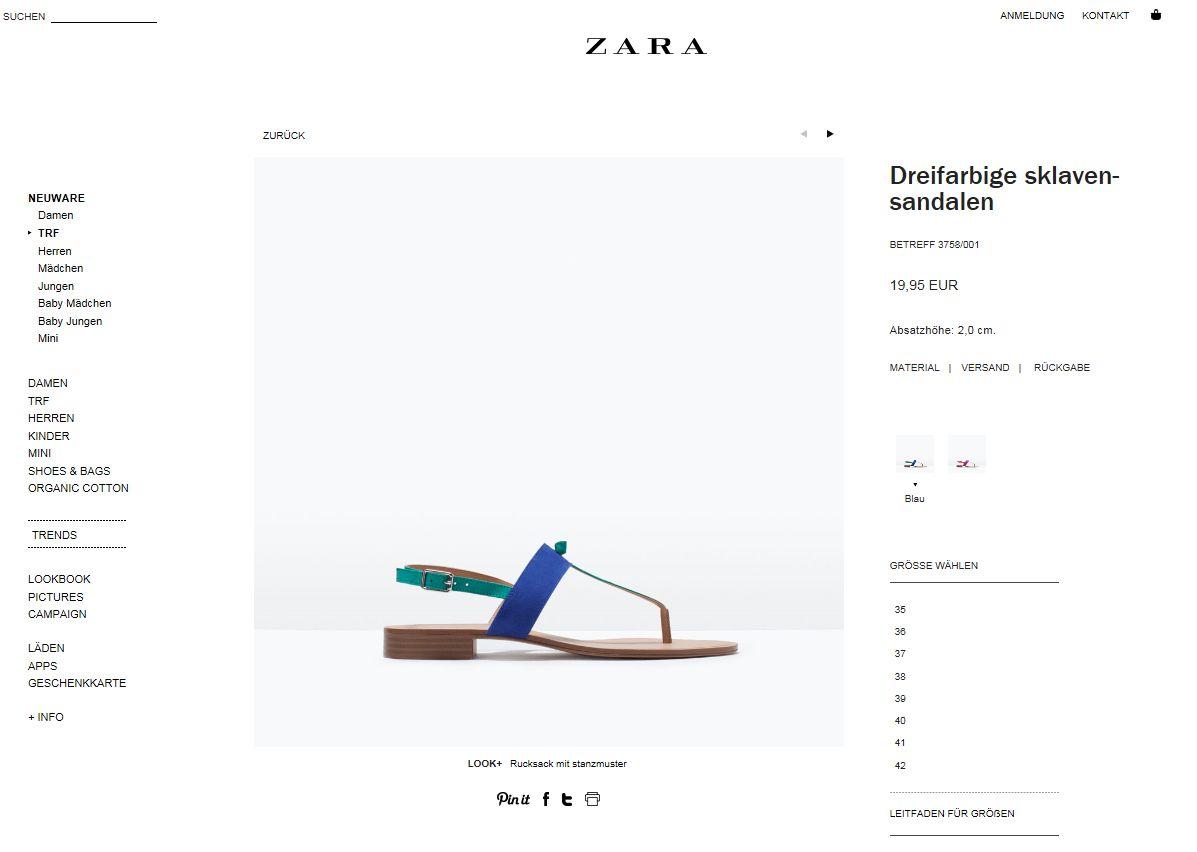 EINMALIGE VERWENDUNG Screenshot/ NUR ALS ZITAT/ Zara/ Schuh