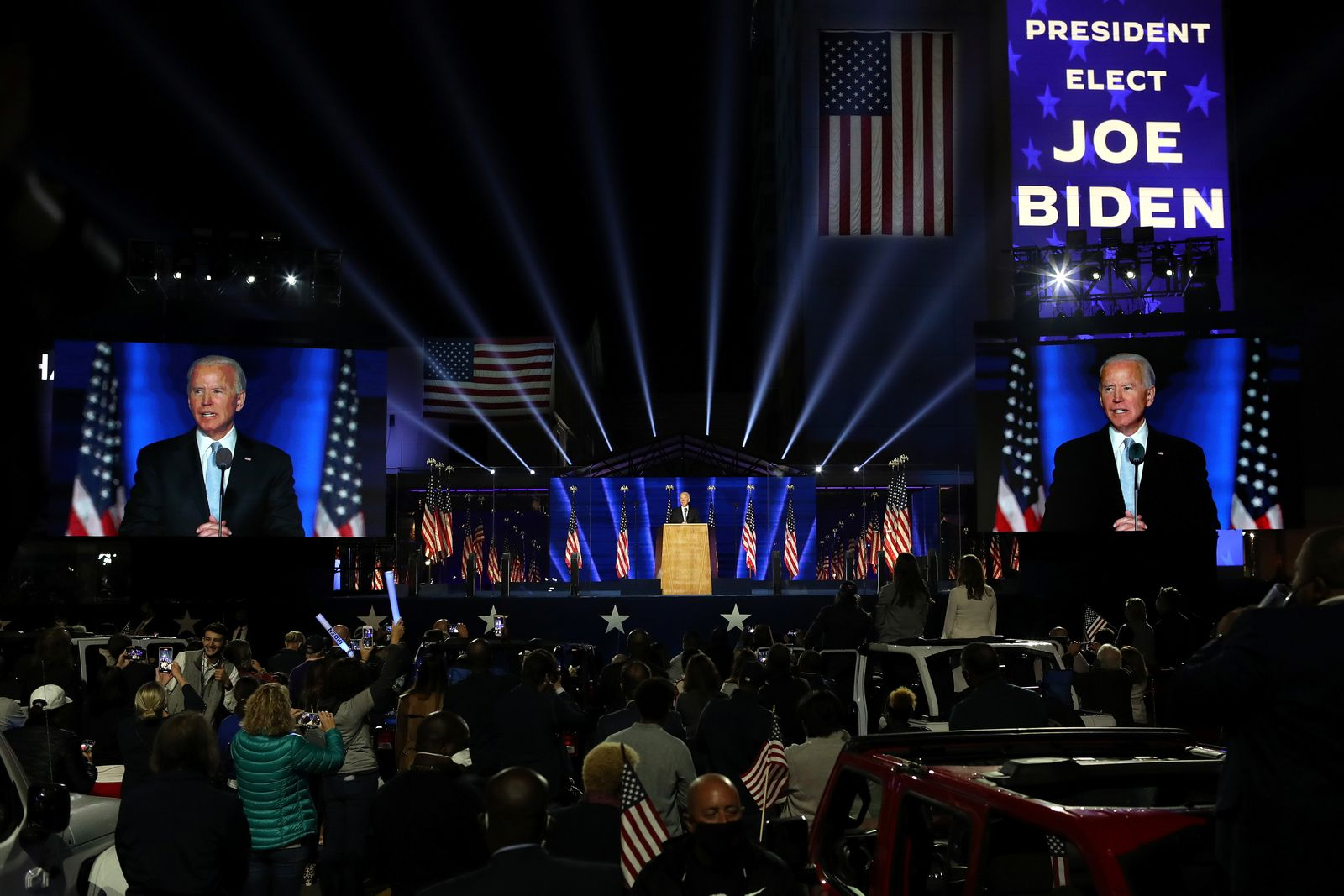 Democratic 2020 U.S. presidential nominee Joe Biden's an election rally, after news media announced that Biden has won the 2020 U.S. presidential election, in Wilmington, Delaware