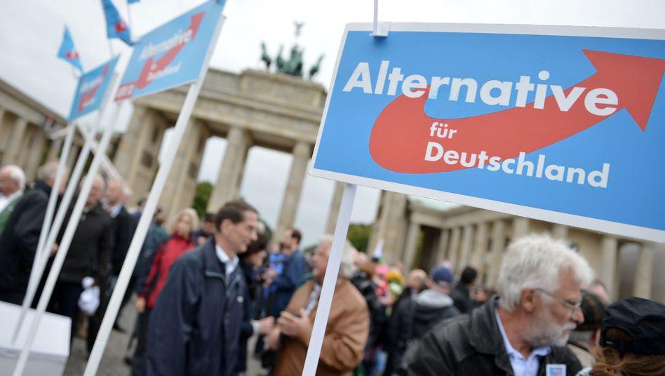 Wahlkampf der AfD: Auch im Auto der Kandidatin lagen Plakate der Partei