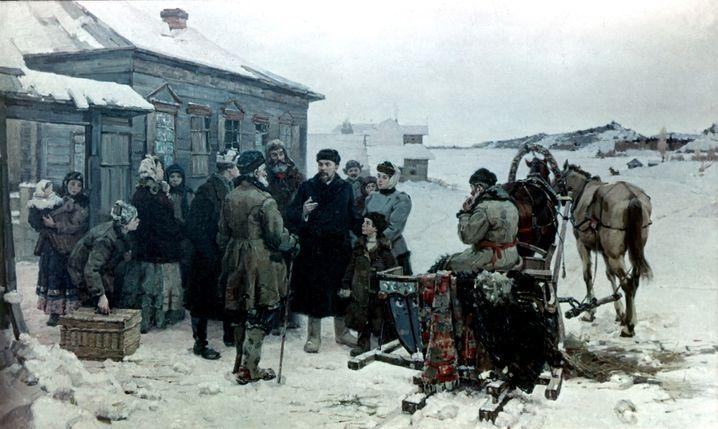 Wladimir Iljitsch Lenin und Nadeschda Krupskaja verlassen Schuschenskoje. Gemälde von I. Raddrogin