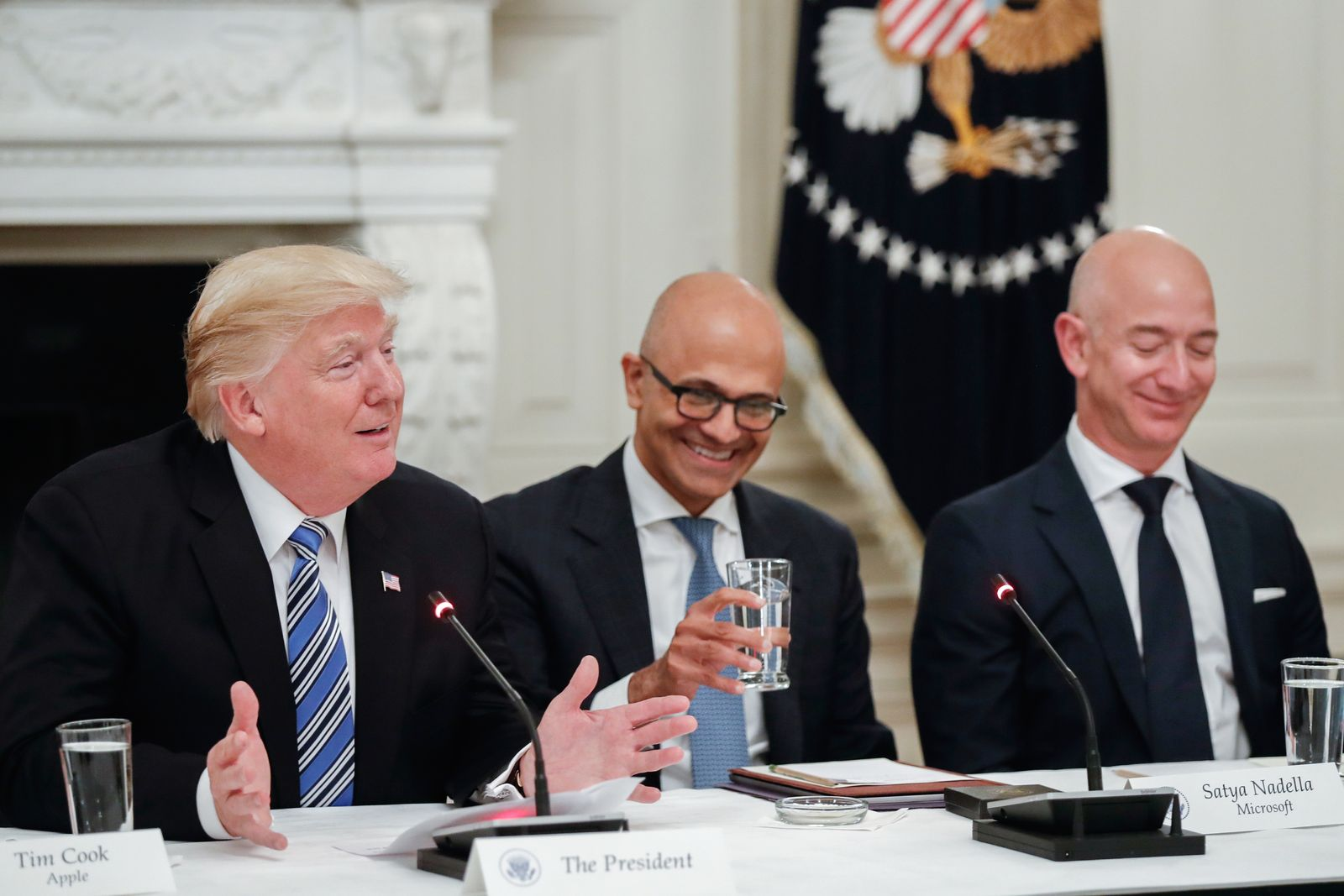Donald Trump/ Microsoft CEO Satya Nadella/ Amazon CEO Jeff Bezos