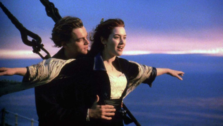 """Actors Leonard DiCaprio and Kate Winslet in one of the key scenes in the film """"Titanic"""": """"The Titanic gives away her mysteries at a very slow pace."""""""