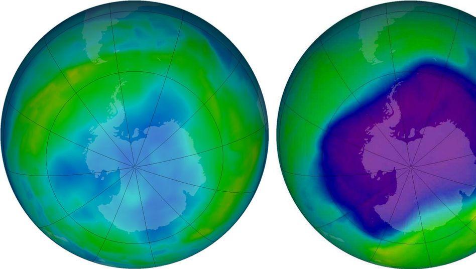 Ozonloch über der Antarktis am 24. September 2006 (rechts) und am 09. Juni 2013 (Computergrafik)