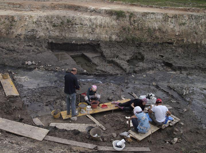 Blick auf die Ausgrabung in der Toskana