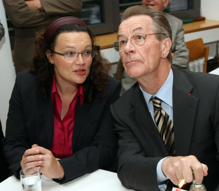 Andrea Nahles together with Franz Müntefering in 2008.