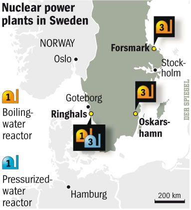 Sweden's nuclear power stations.