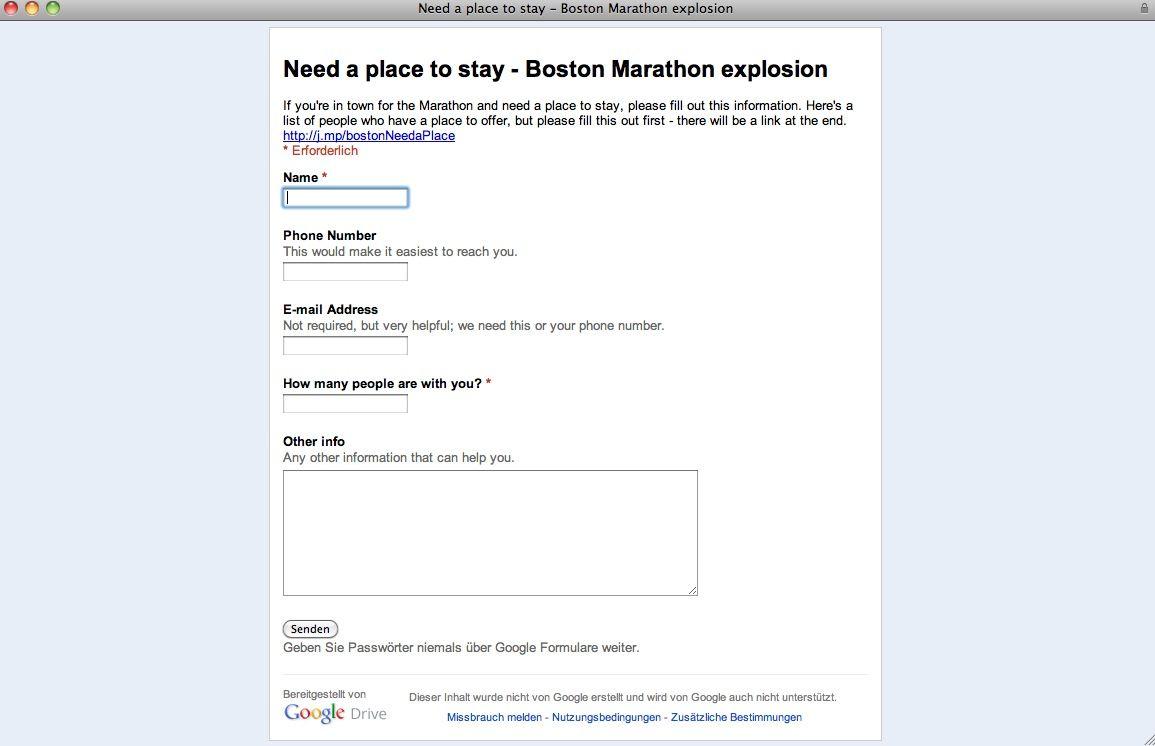 EINMALIGE VERWENDUNG Screenshot / Boston Explosionen Social Media