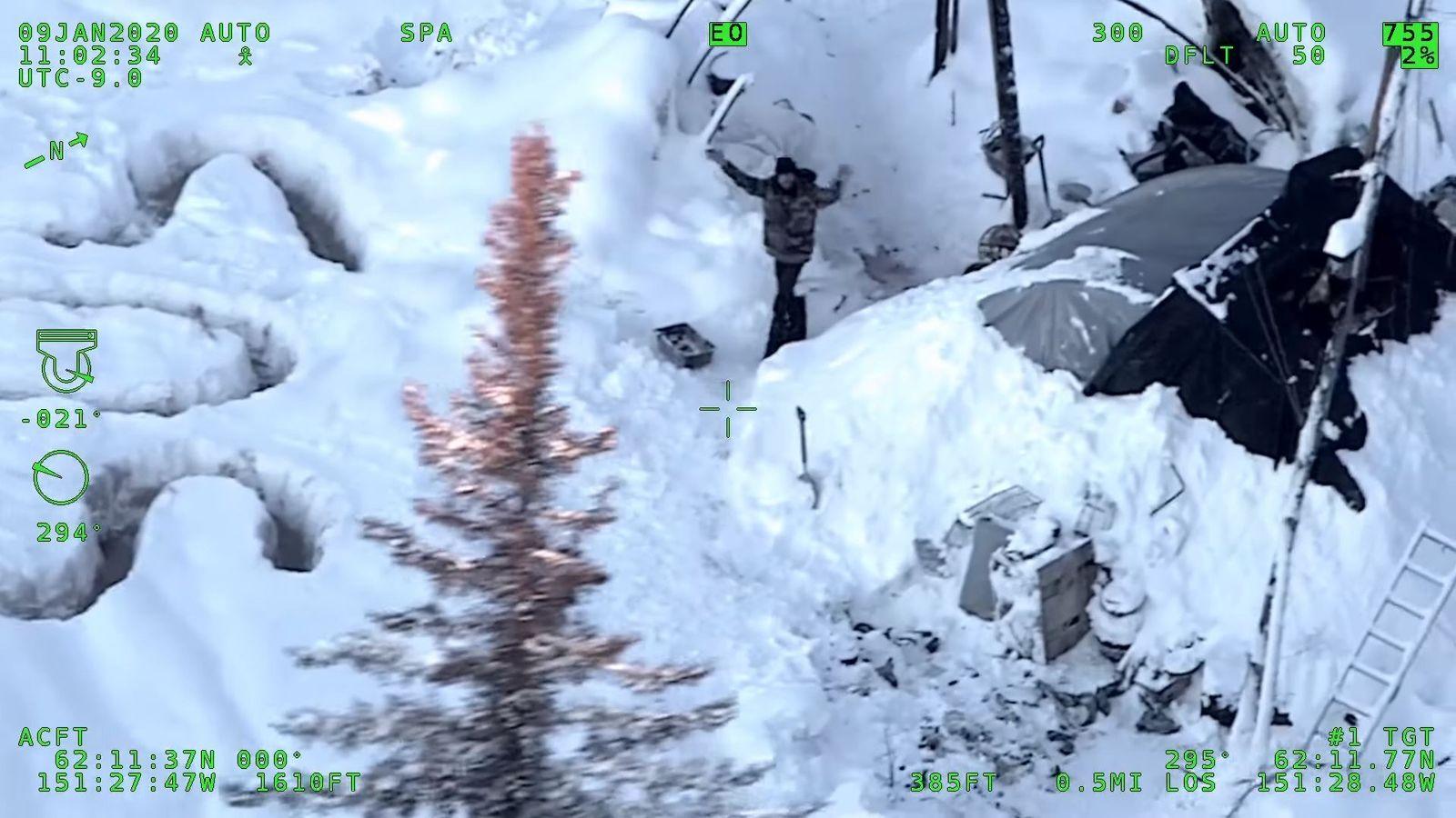 Man survives in remote Alaska after cabin fire, Skwentna, USA - 13 Jan 2020