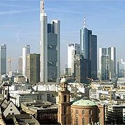 Frankfurt's Financial District. Banks in Germany are coming under pressure from Washington not to finance business with Iran.