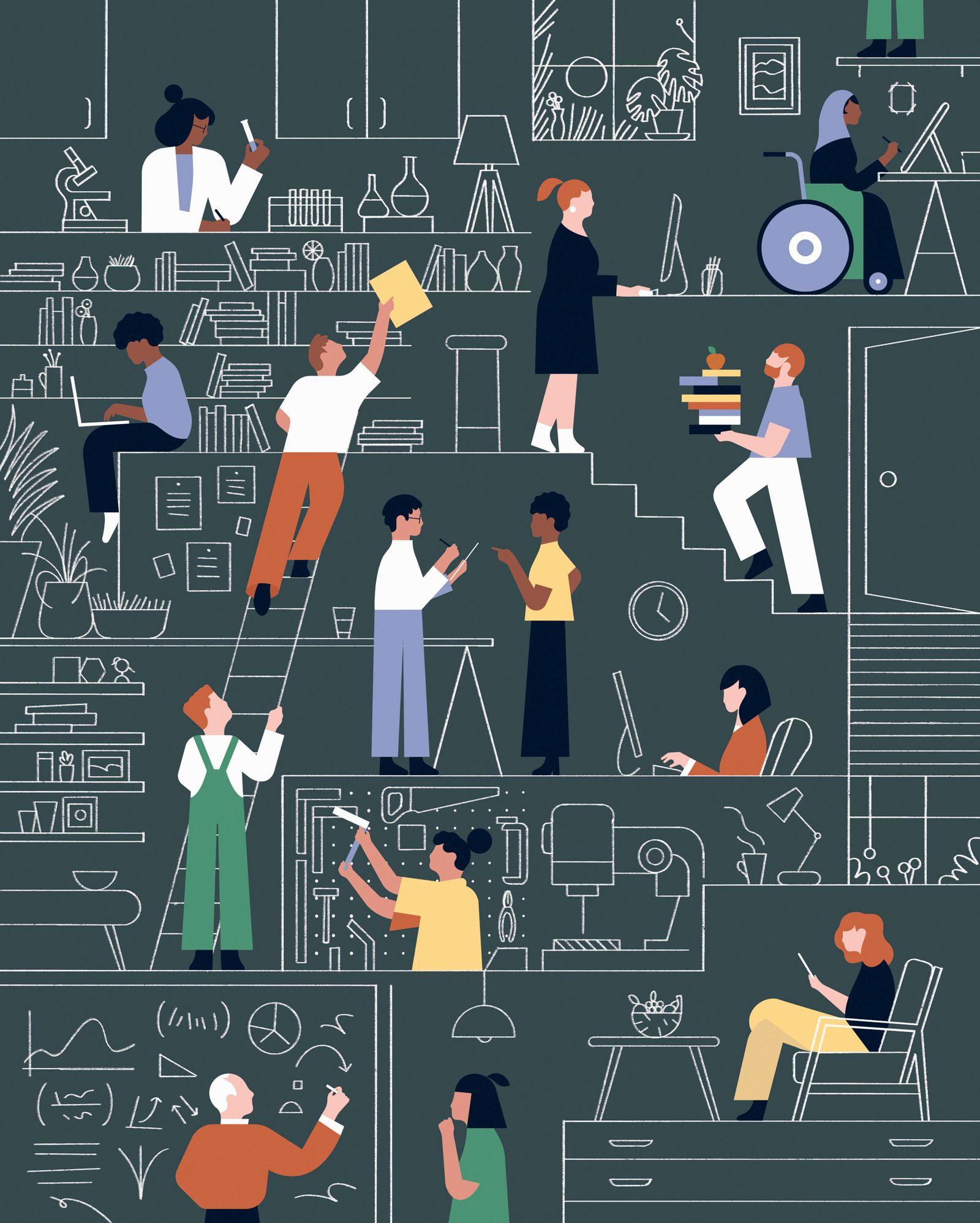 Montage von Menschen in verschiedenen Arbeitsumgebungen *** Assembly of people in different working environments PUBLICA