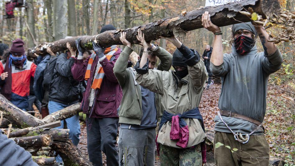 Aktivisten errichten Barrikaden im Dannenröder Forst, 11. November 2020