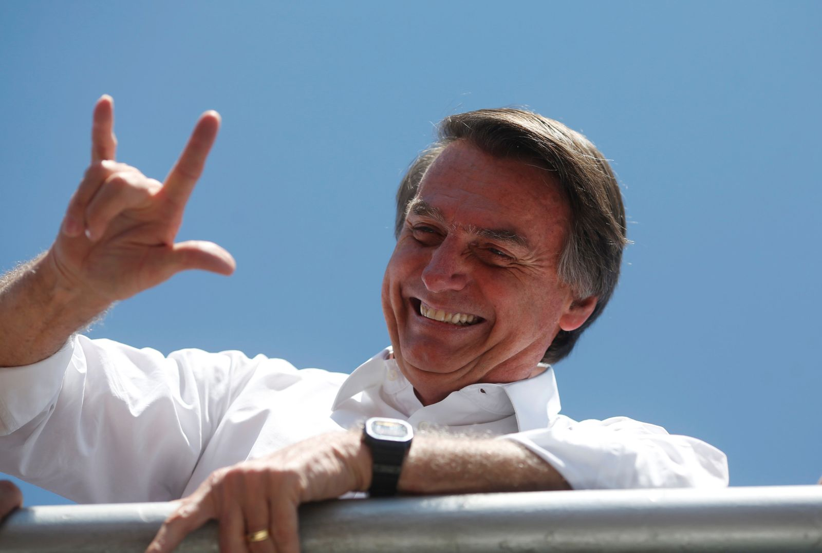 Presidential candidate Jair Bolsonaro attends a rally in Taguatinga