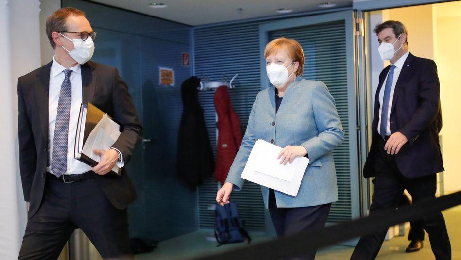 Michael Müller (SPD), Angela Merkel (CDU), Markus Söder (CSU)