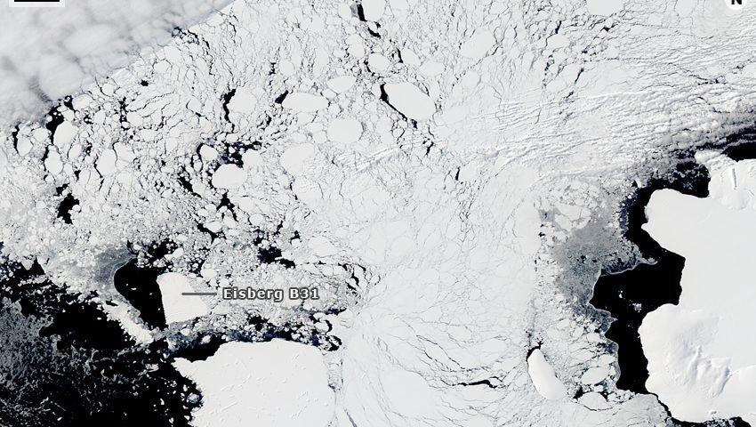 Reise eines Eisbergs: B31 am Rand der Amundsen-See im Südpolarmeer