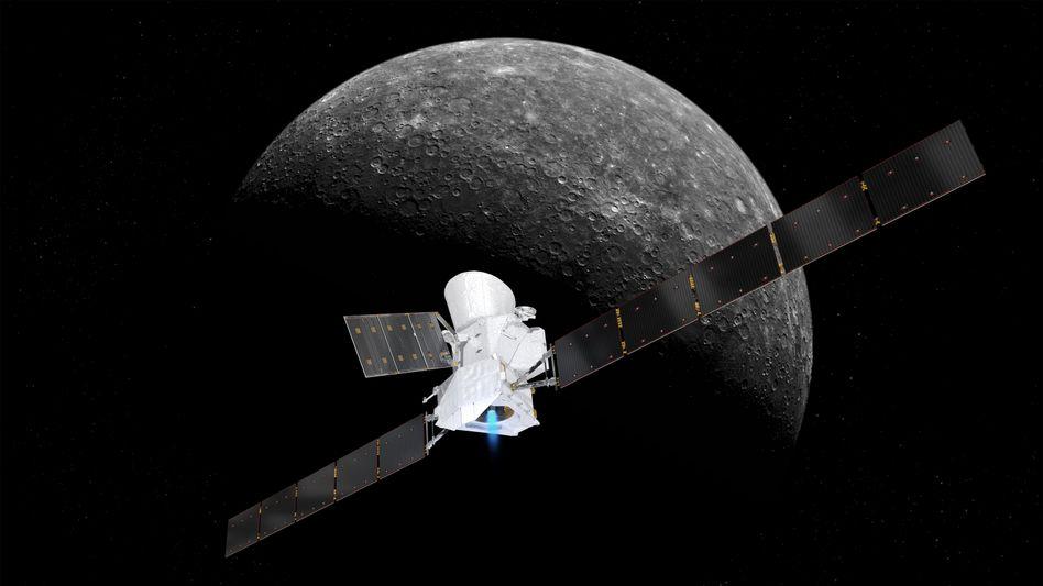 """Eine grafische Darstellung zeigt die Sonde """"BepiColombo"""" im Anflug auf den Merkur"""