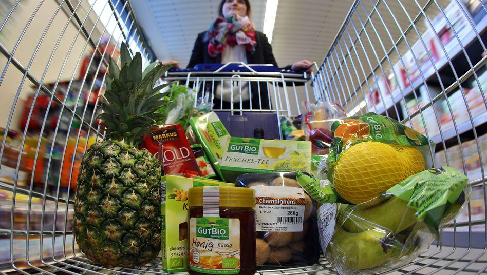 Das Bio-Sortiment in einem deutschen Supermarkt