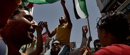Protestierende Fatah-Anhänger (im Westjordanland): Abspaltung in Gaza