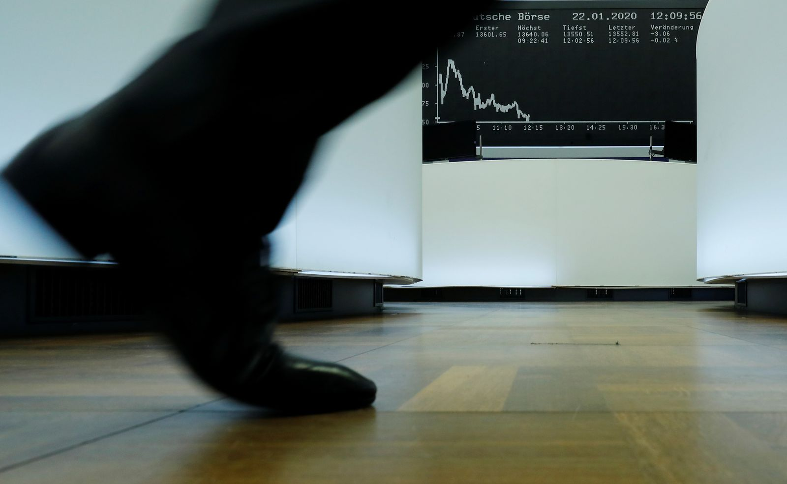 A trader walks past the German share price index DAX graph at Frankfurt's stock exchange in Frankfurt