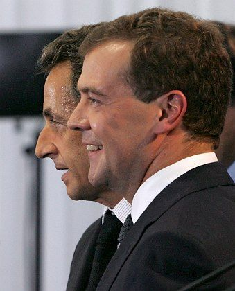 After a tough round of negotiations Sarkozy persuaded Medvedev to agree to pull out Russian troops from Georgia proper.