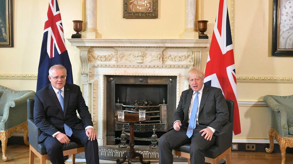 Premier Johnson (rechts) mit seinem australischen Amtskollegen Morrison: Achtwichtigster Handelspartner