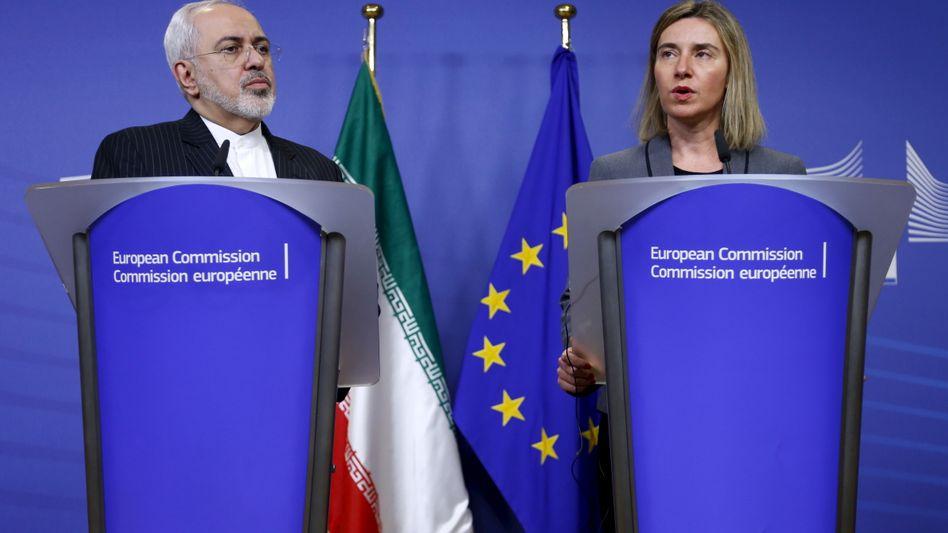 Irans Außenminister Zarif, EU-Außenbeauftragte Mogherini