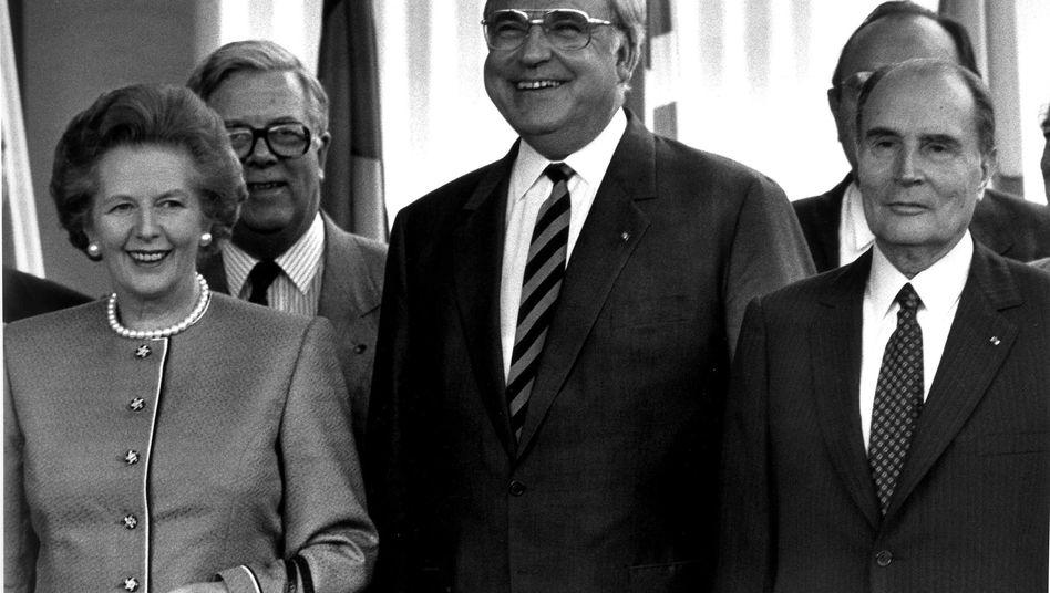 Frühere europäische Politiker Thatcher, Kohl, Mitterand